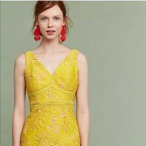 Anthropologie Maeve yellow gardenia lace dress